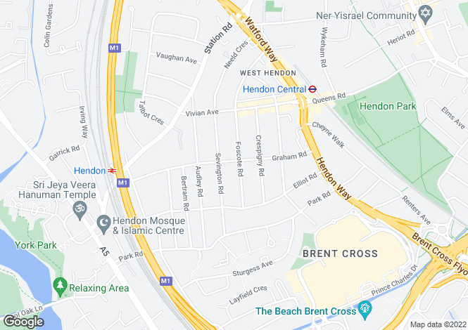 Map for Foscote  Road, Hendon