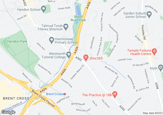 Map for Riverside Drive, Golders Green Road, Golders Green, NW11