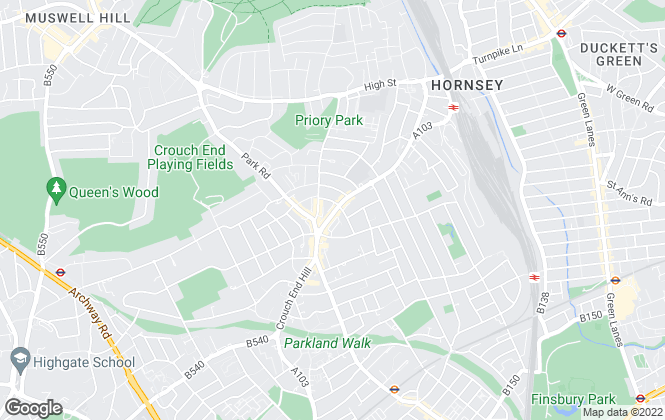 Map for PropertyNet, Crouch End