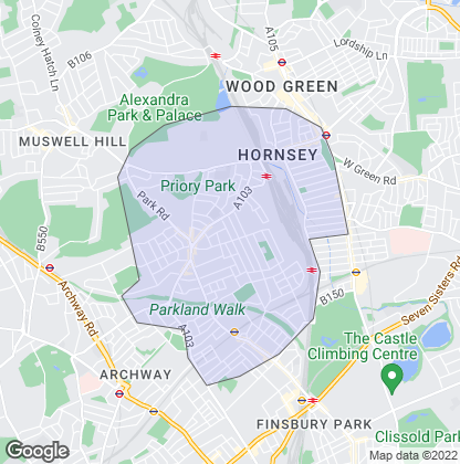 Map of property in Crouch End