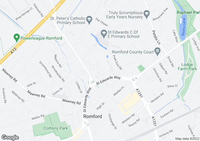 Map for Dunton Road, Romford