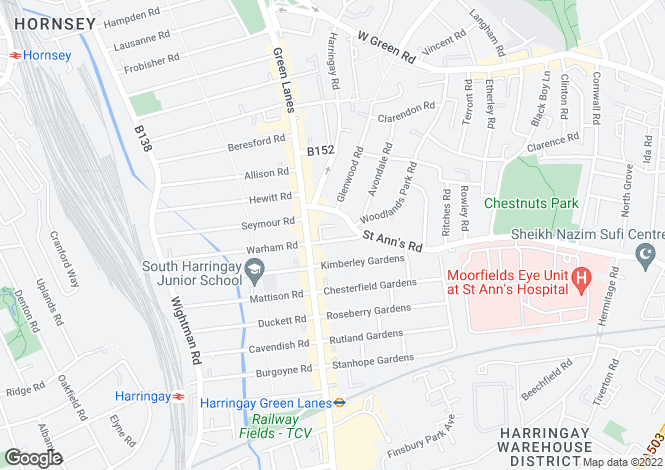 Map for Salisbury Road, Harringay, London, N4
