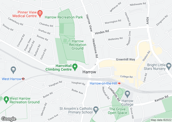 Map for Roxborough Road  Harrow