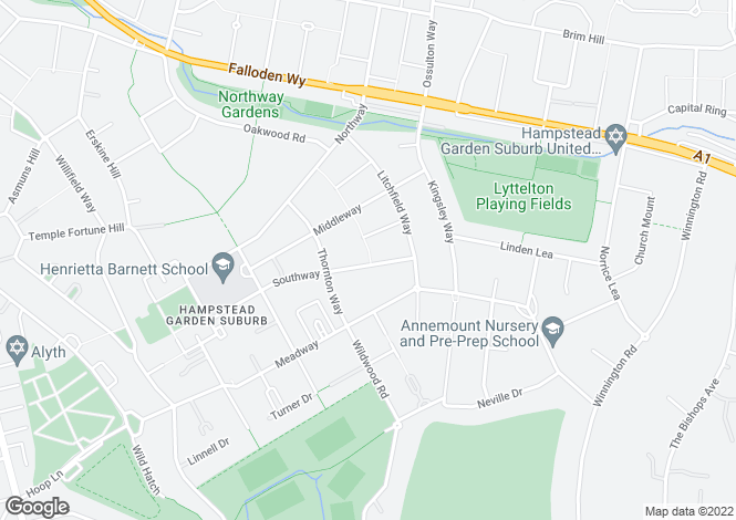 Map for Southway, Hampstead Garden Suburb