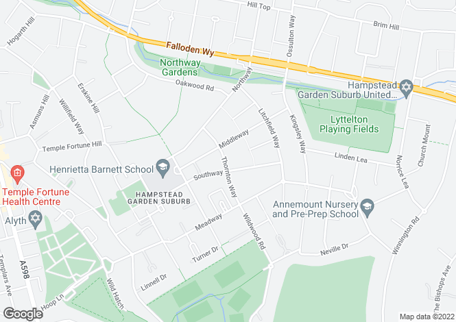 Map for Thornton Way, Hampstead Garden Suburb, London, NW11