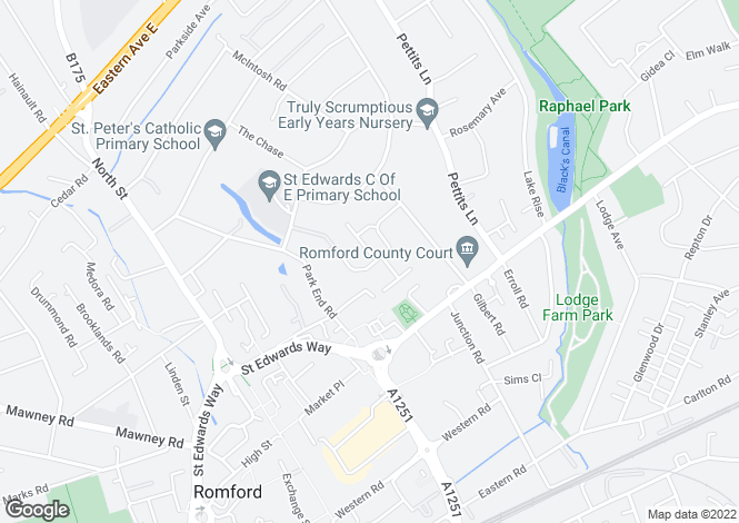 Map for Dickens Way, Romford, Essex, RM1