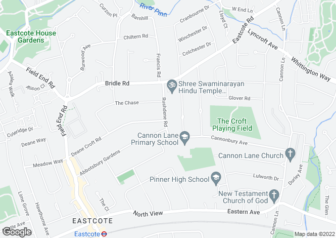 Map for Rushdene Road, Pinner, Middlesex, HA5