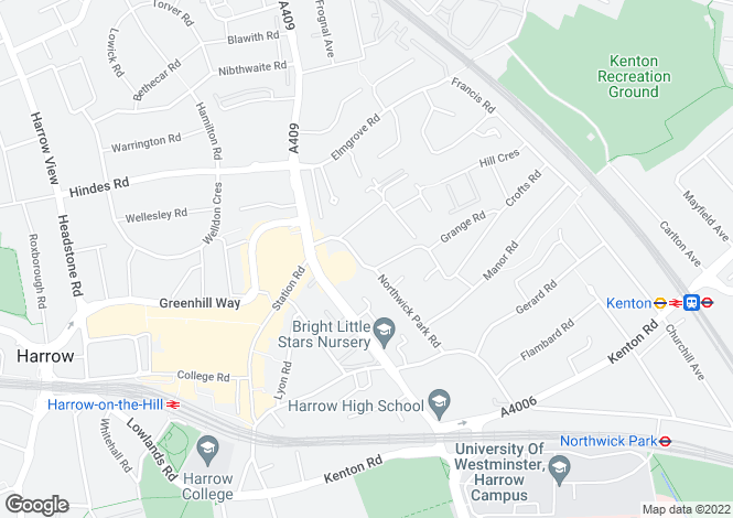 Map for Bonnersfield Lane, Harrow, Middlesex, HA1
