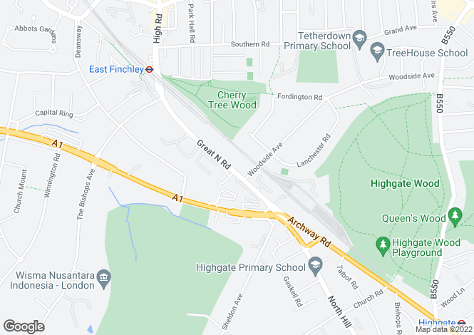 Map for Great North Road, Highgate, London, N6