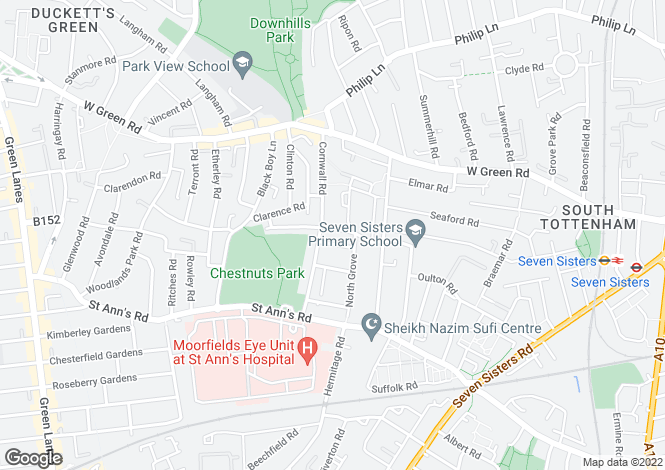 Map for Gorleston Road, South Tottenham, London, N15