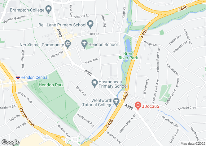 Map for Green Lane, Hendon, NW4