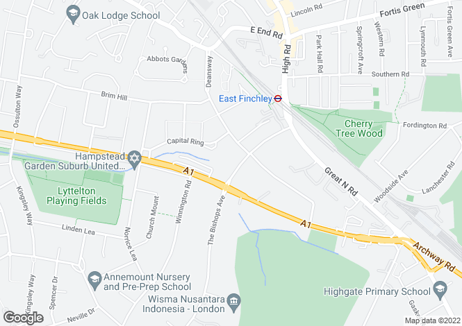 Map for The Bishops Avenue, East Finchley, London N2