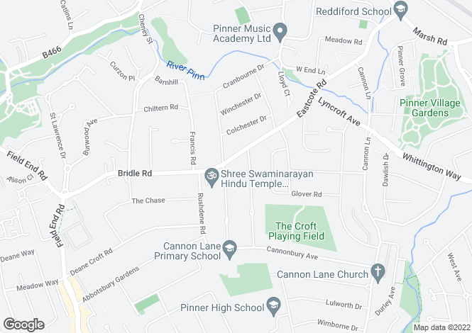 Map for Eastcote Road, Pinner, Middlesex, HA5