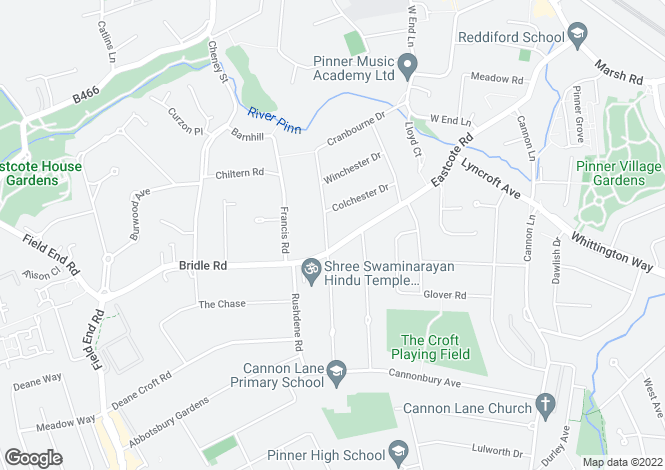 Map for Rochester Drive, Pinner