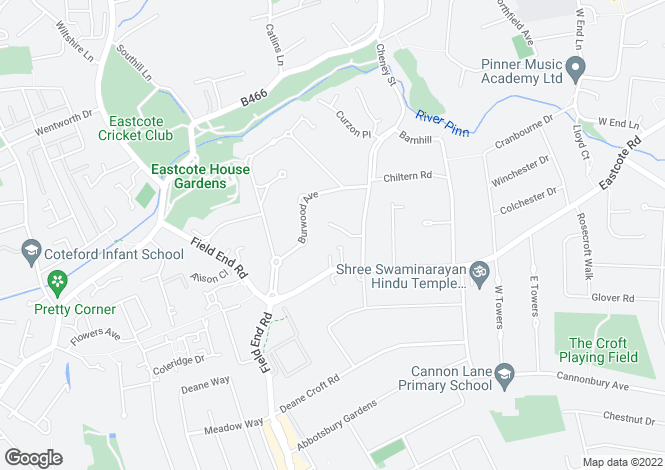 Map for Nightingale Close, Pinner, Middlesex
