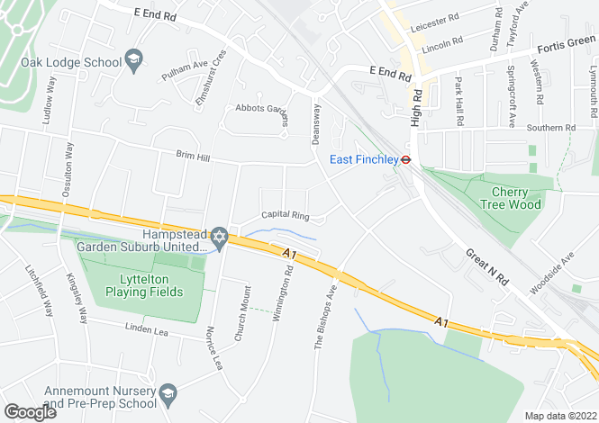 Map for Vivian Way, Hampstead Garden Suburb