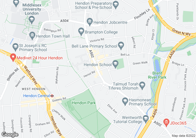 Map for Brent Street, Hendon, NW4