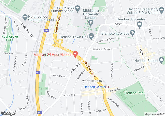 Map for THE BURROUGHS, HENDON, NW4