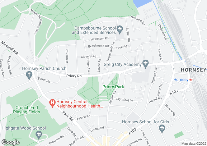 Map for Priory Road, Crouch End, London, N8