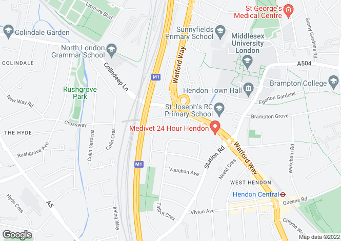 Map for Endersleigh Gardens, Hendon, NW4