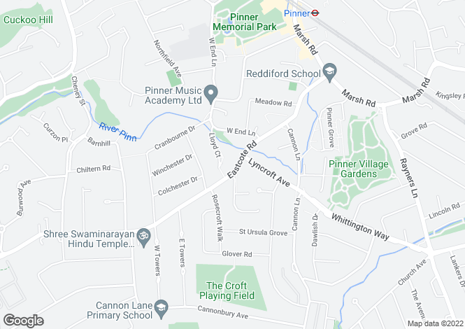Map for Eastcote Road,