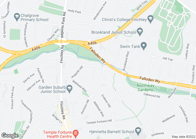 Map for Addison Way, Hampstead Garden Suburb