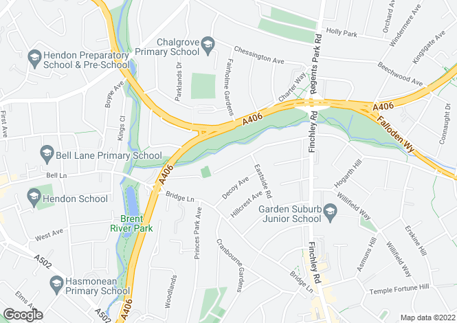Map for Hurstwood Road, London, NW11