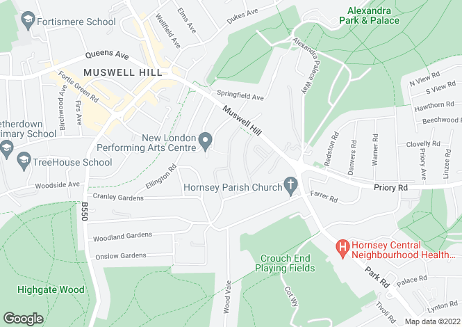 Map for Cascade Avenue, Muswell Hill, London, N10