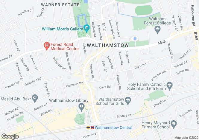 Map for Tower Hamlets Road, Walthamstow, London