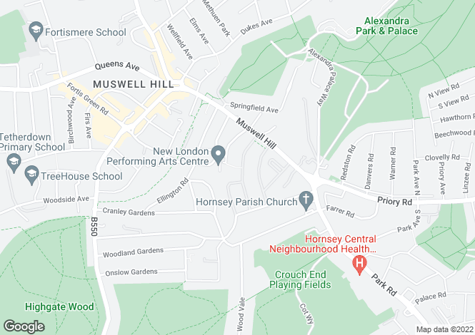 Map for Cranmore Way, Muswell Hill, London