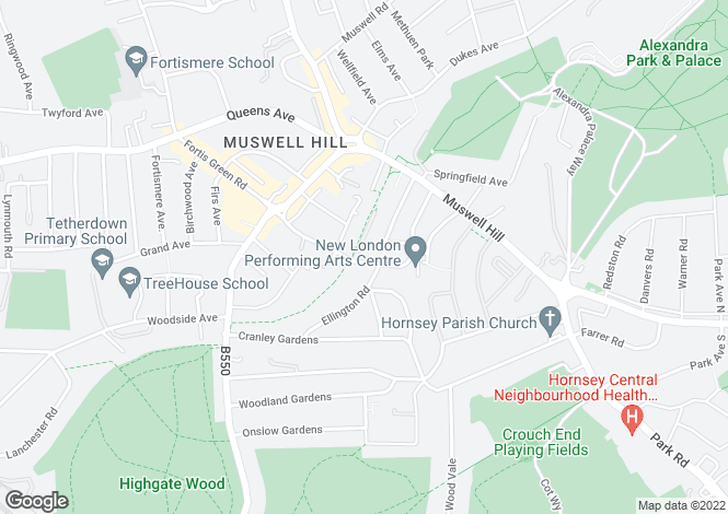 Map for St. James Lane, Muswell Hill, N10