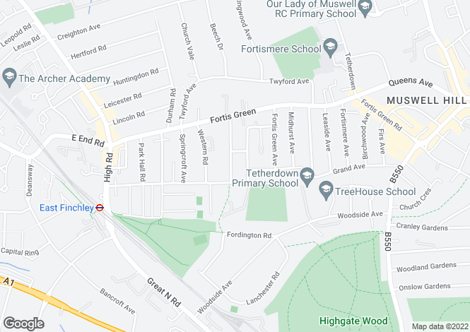 Map for Eastern Road, Fortis Green, London, N2