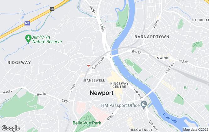Map for Redlands Estate Agents, Newport