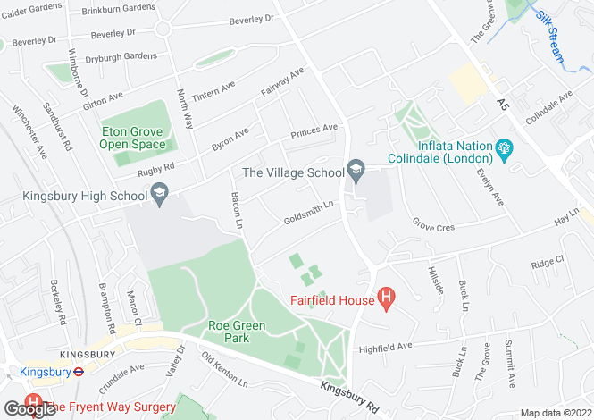 Map for Goldmith Lane, Kingsbury, NW9