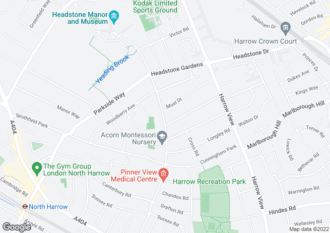 Map for Radnor Road, Harrow, Middlesex, HA1