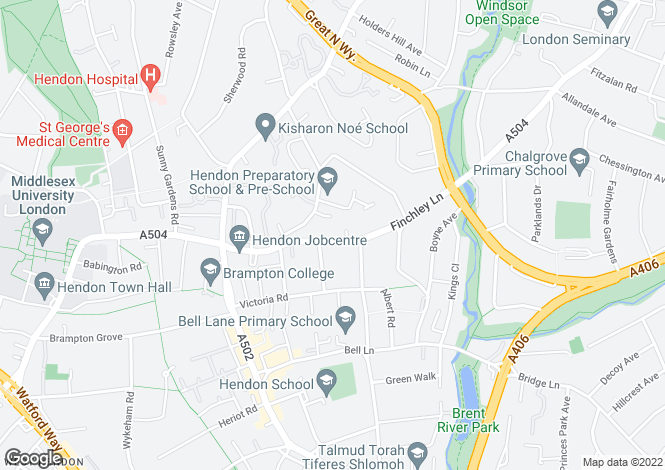 Map for Finchley Lane NW4, Hendon