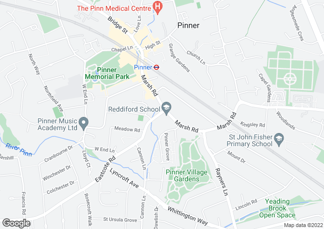 Map for Marsh Road, PINNER, Middlesex