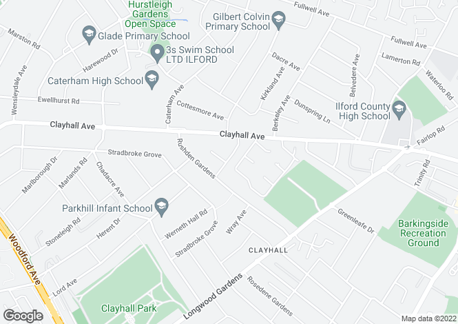 Map for Tiverton Avenue, Clayhall, Ilford