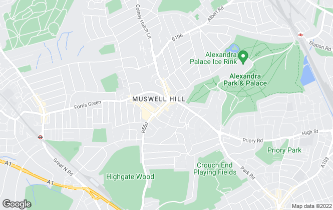 Map for Kinleigh Folkard & Hayward - Lettings, Muswell Hill
