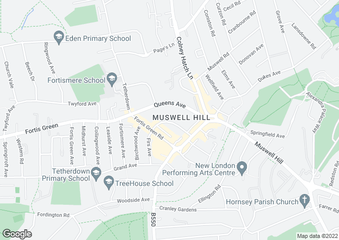 Map for Princes Avenue, Muswell Hill, N10