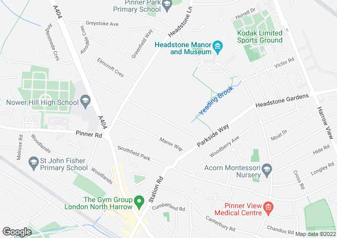 Map for Priory Way, North Harrow