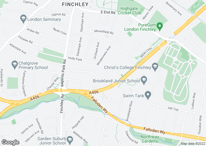 Map for Kingsgate Avenue, Finchley, N3 3BE