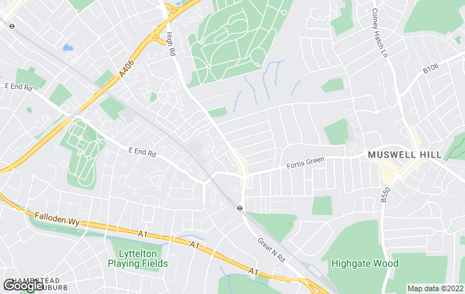 Map for Adam Hayes Estate Agents, East Finchley, N2