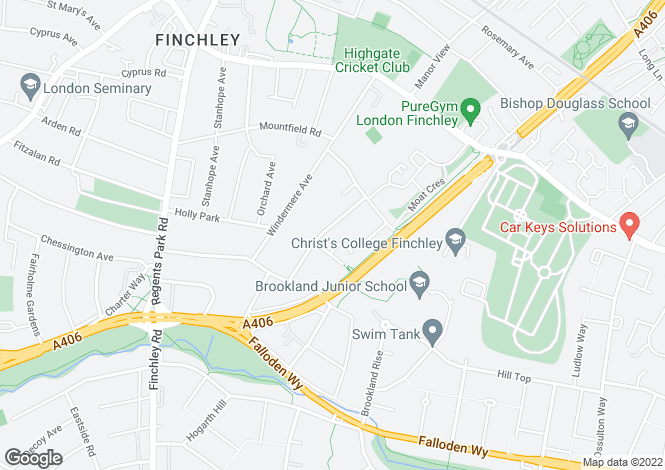 Map for Kingsgate Avenue, Finchley