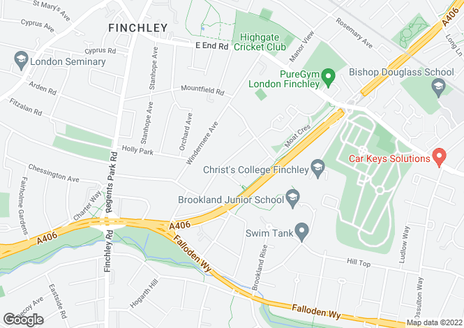 Map for Kingsgate Avenue Finchley N3