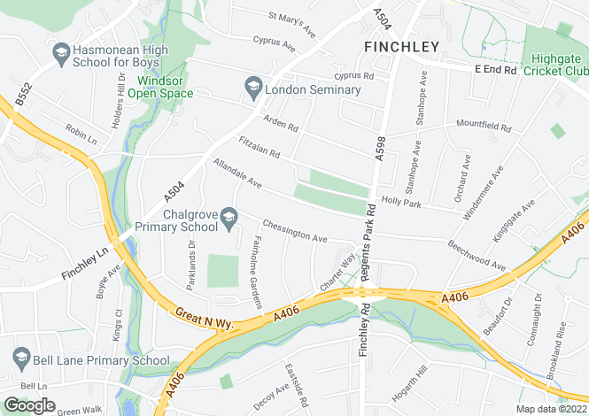 Map for Allandale Avenue, Finchley, London, N3