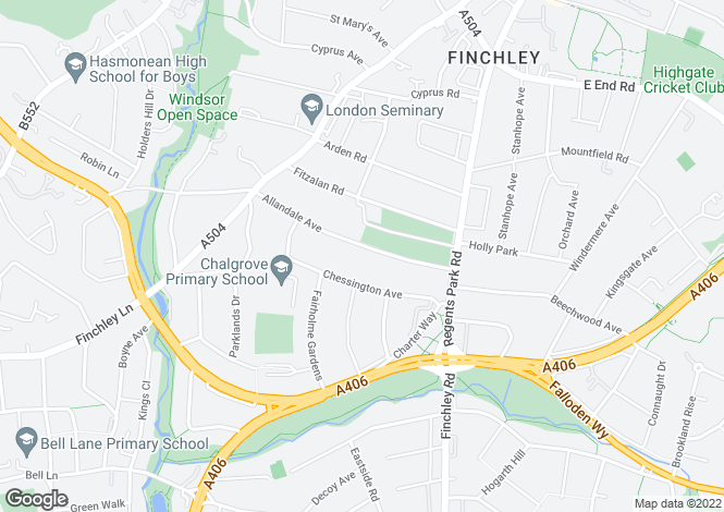 Map for Allandale Avenue, Finchley N3