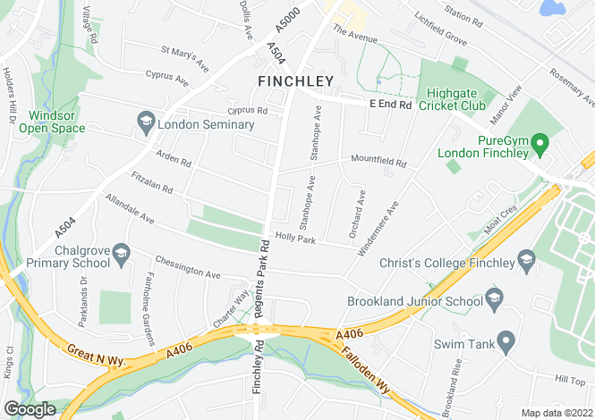 Map for Stanhope Avenue, Finchley