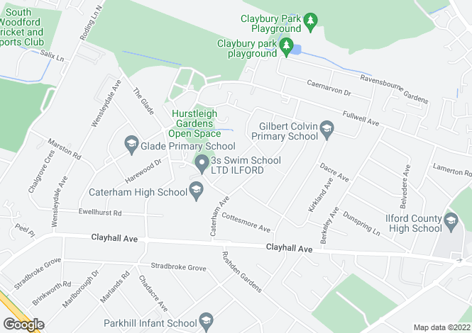 Map for Cheriton Avenue, Clayhall