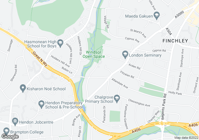 Map for Surrey Close, Finchley, N3